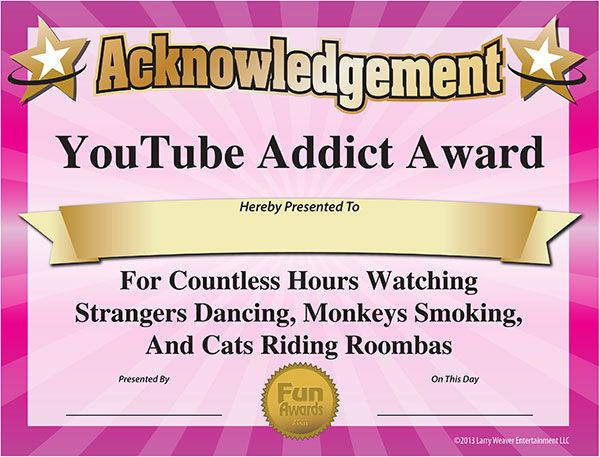 funny printable awards  YouTube Award from www.funawards.com | Free Printable Certificates ...