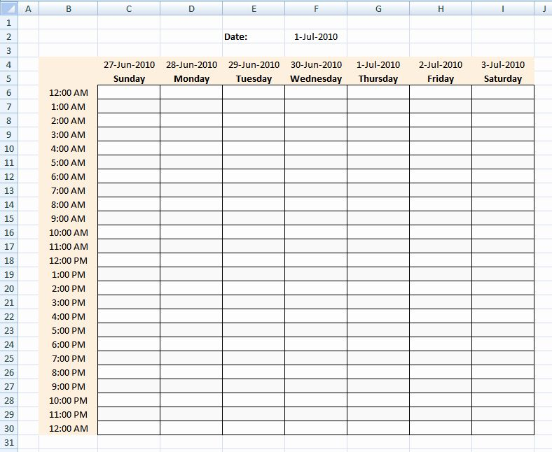 Hour By Hour Schedule Template New Hourly Schedule Template Excel Template Horario De Clases Horario Carpeta