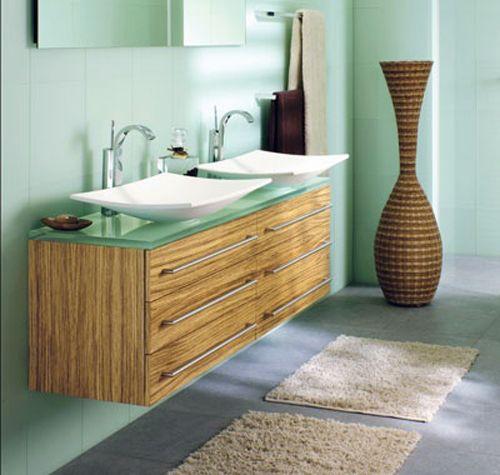 salle-de-bain-vert-d-eau-et-bois | Pinterest | Salles de bains verts ...