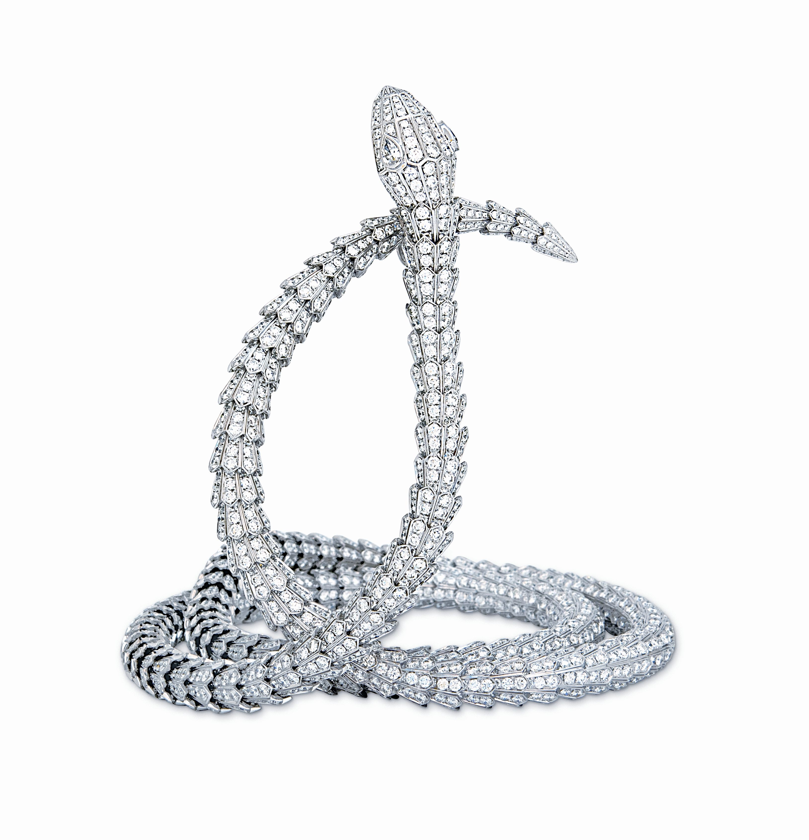 a071f077f This extra-long diamond and white gold Bulgari Serpenti High Jewelry  Collection snake necklace was made to wrap twice around the throat.