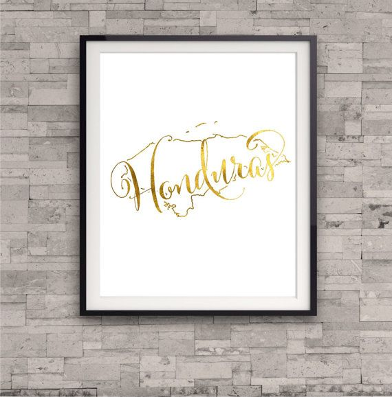 Honduras Map Print GOLD FOIL PRINT Home Town by TheDigitalStudio
