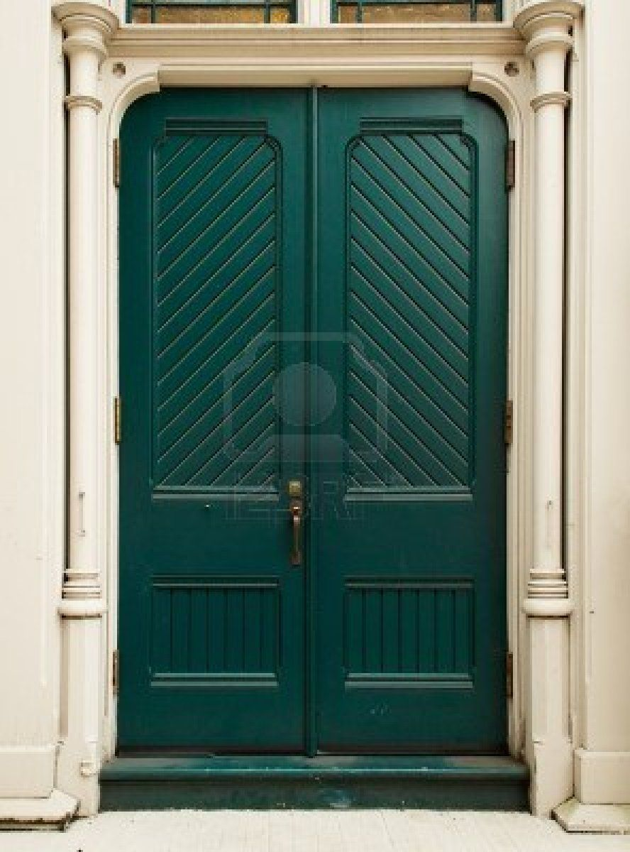 Colonial Style Green Door On White House Stock Photo Love This Color