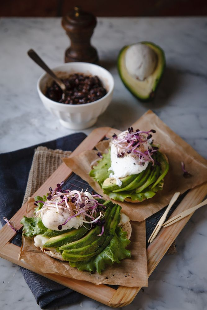 Avocado sandwich with poached eggs