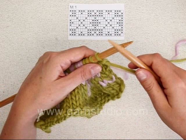 How to knit Fair Isle (2 color knitting) US/UK | Drop-Modelle ...