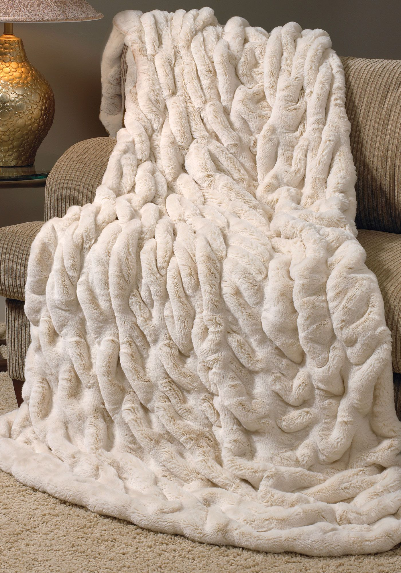 Sofa Cover Ivory Mink Couture Faux Fur Throw Blankets