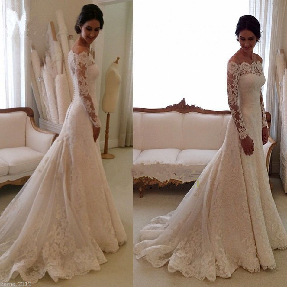 Custom made vintage long sleeve wedding dresses lace white ivory