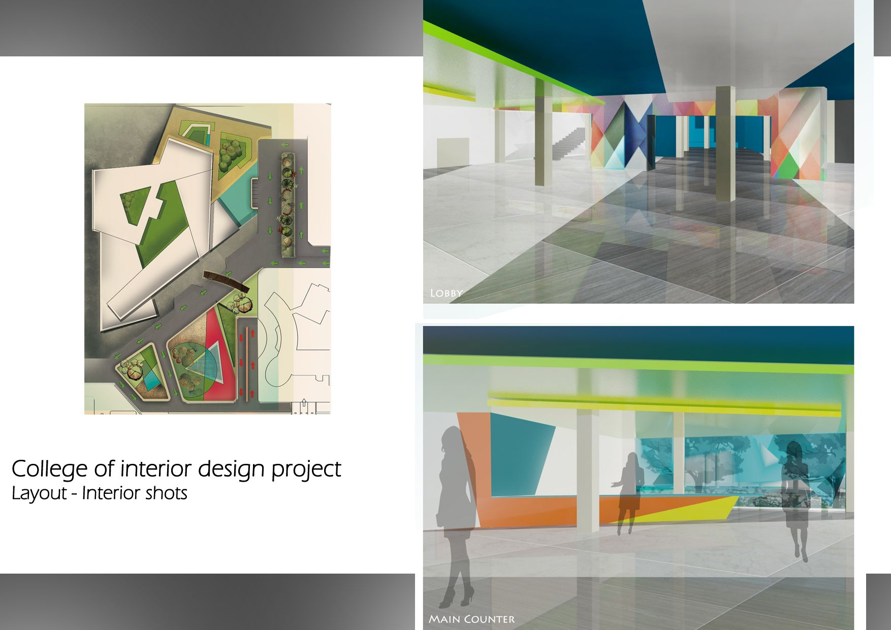 College Of Interior Design Project 4th Year Site Plan And Lobby Perspectives