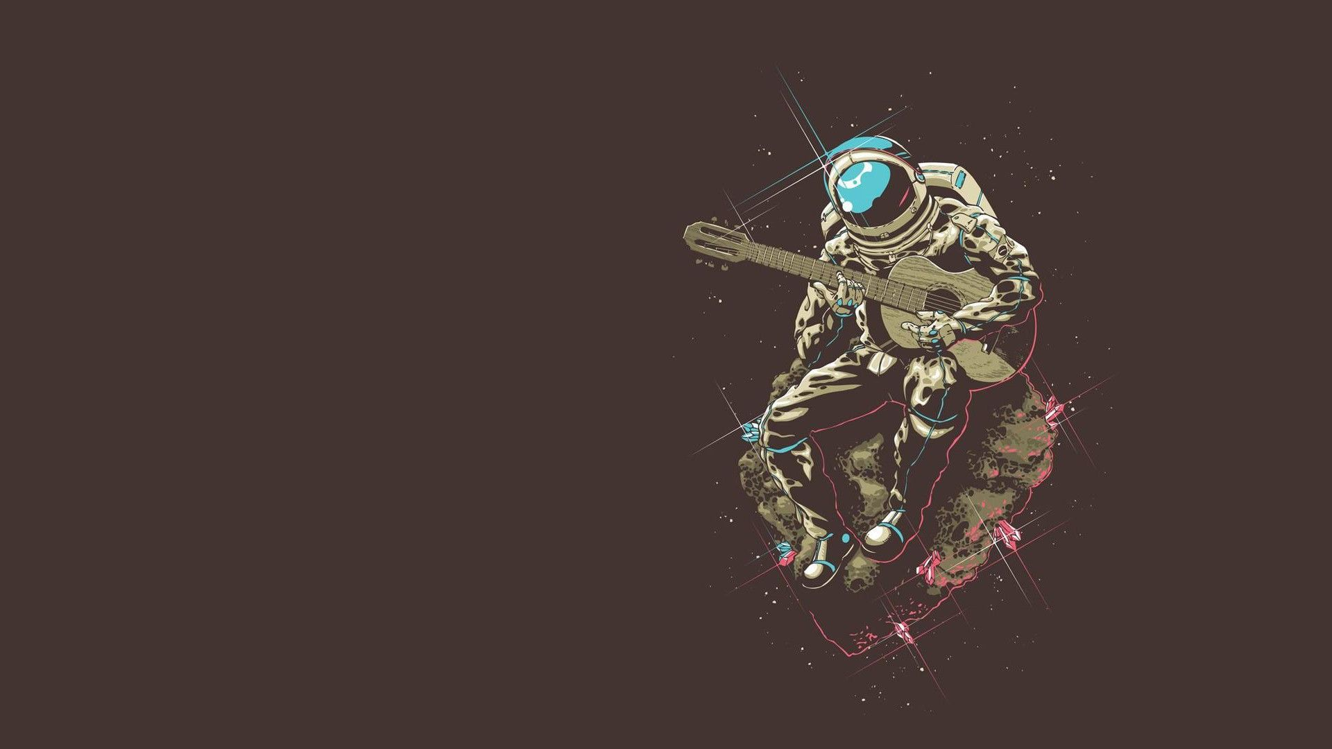 1920x1080 Minimalism Astronaut Space Guitar Asteroid Wallpaper Jpg 149 Kb Hd Wallpaper Astronaut Artwork Astronaut Tattoo