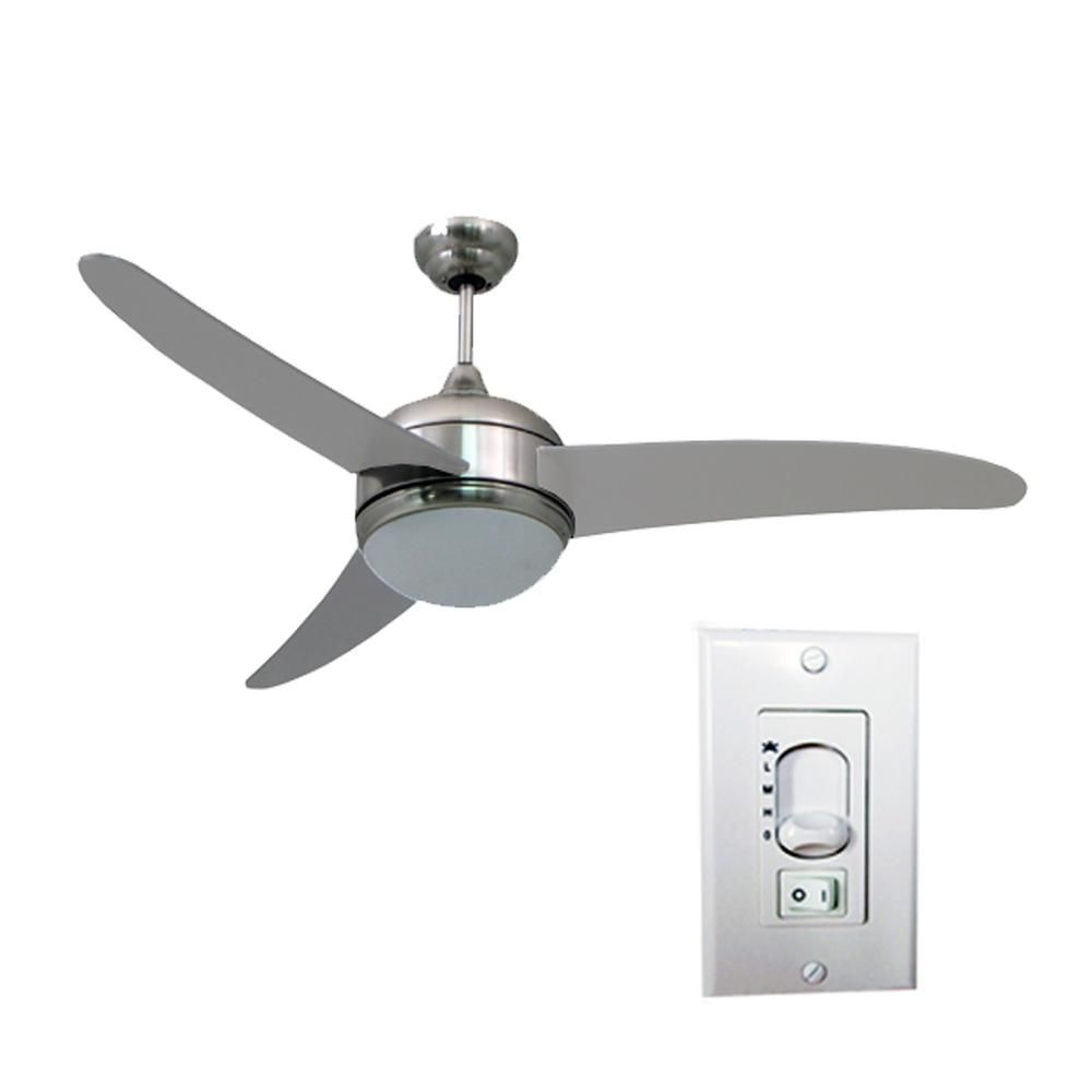 Homeselects contempo in led indoor brushed nickel ceiling fan