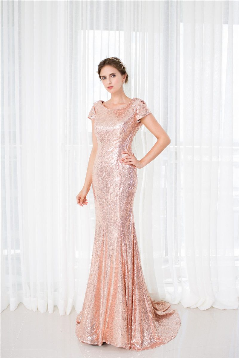 Click to buy ucuc real photo pink long sequined evening dresses