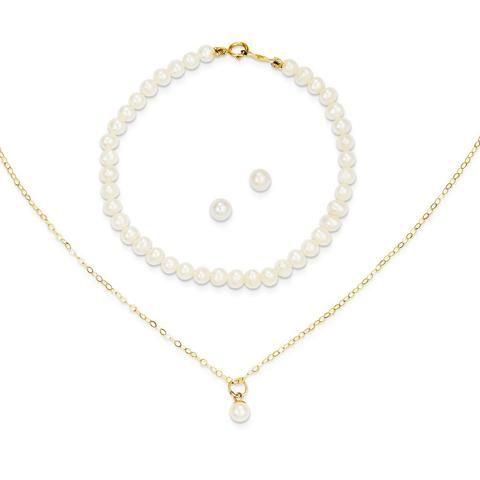 14k Yellow Gold Madi K. Pearl 15in Necklace, Earrings & 5.5in Bracelet 3pc Set