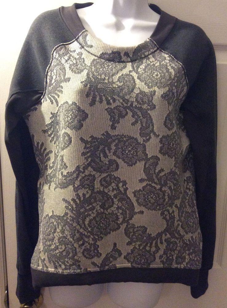 Lululemon Fleet Street Pullover Sweatshirt Floral Lace Gray Sz 8 Yoga Run | eBay