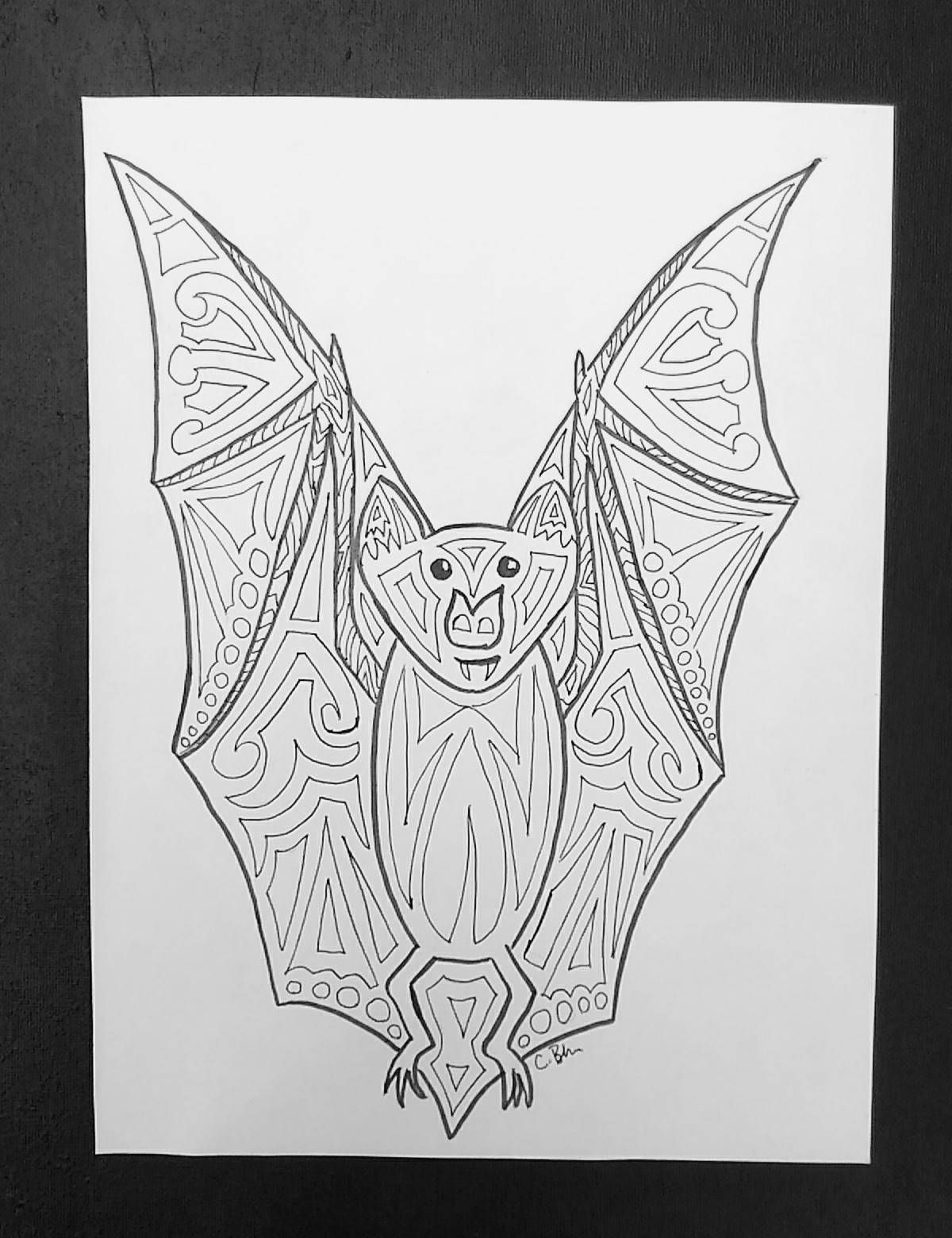 Bat Printable Adult Coloring Page 8x10 by PickleHeadPaints