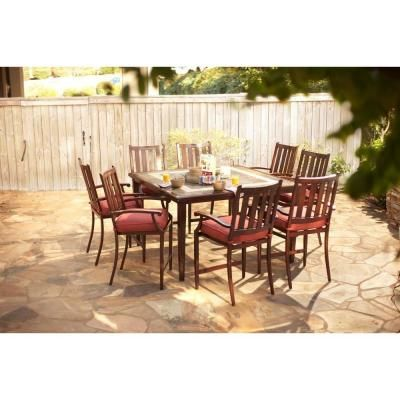 H&ton Bay Broadwell 9-Piece High Patio Dining Set with Red Cushions  sc 1 st  Pinterest & Hampton Bay Broadwell 9-Piece High Patio Dining Set with Red ...