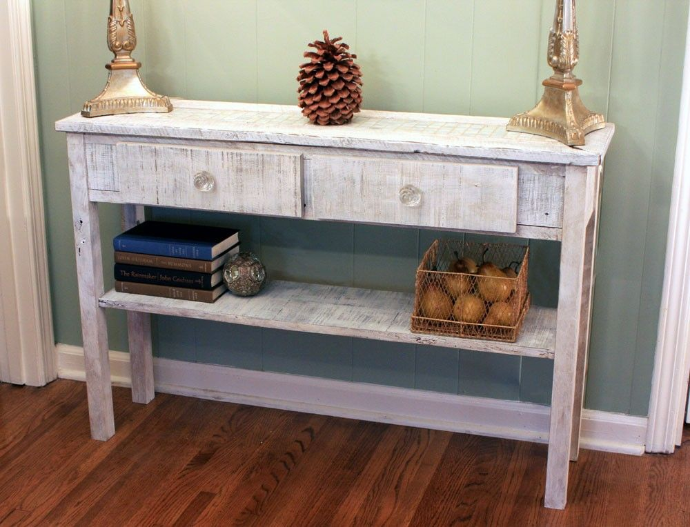 Whitewashed Sofa Table White Hallway Table Whitewash Entry Etsy Sofa Table Design Living Room Table Entry Table