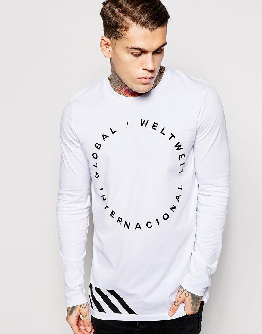 ASOS Longline Long Sleeve T-Shirt With Typographic Print at asos.com