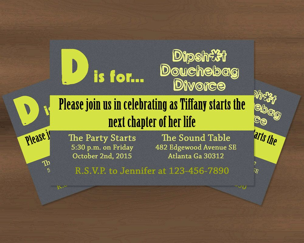 D is for Divorce Party Invitation Printable by Prinvitations on ...