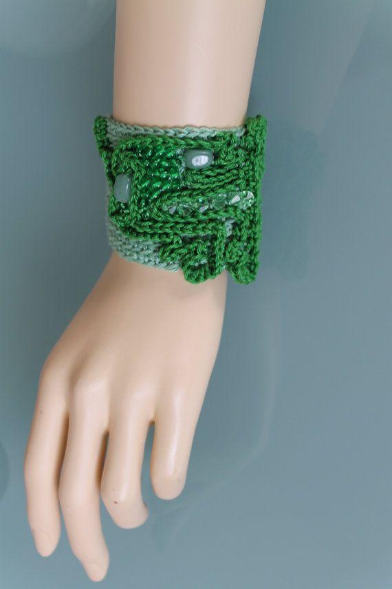 Freeform Crochet Cuff  Bracciale  avventurina pietre di lucylev