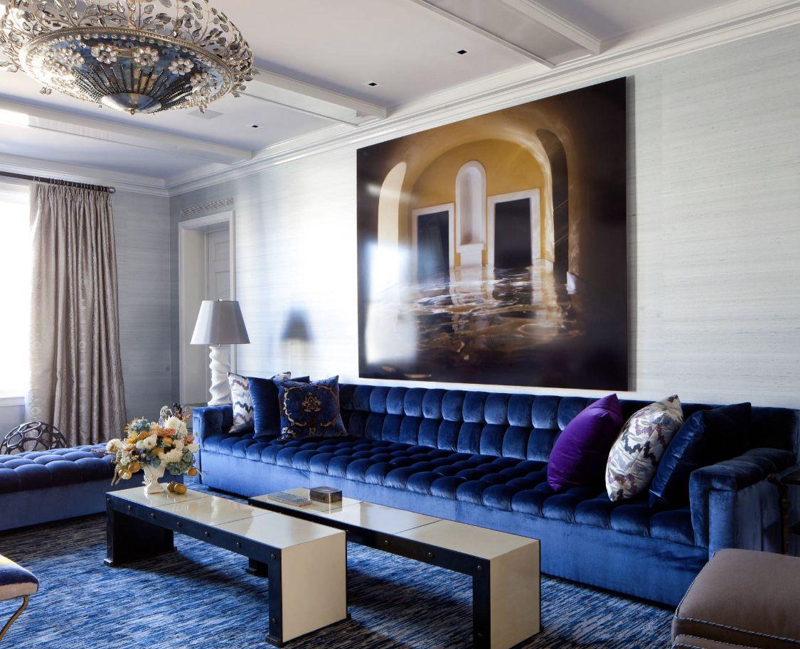 Best Navy Blue Velvet Tufted Sofa Luxury Living Room Blue 640 x 480