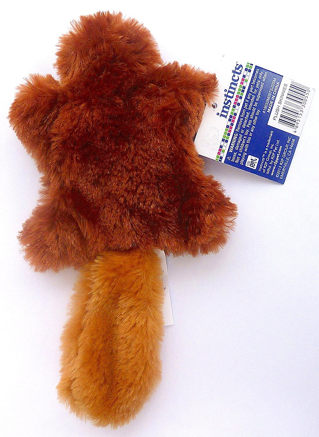 Instincts Plush Skinnies Squeaky Pet Toy Small Beaver Read