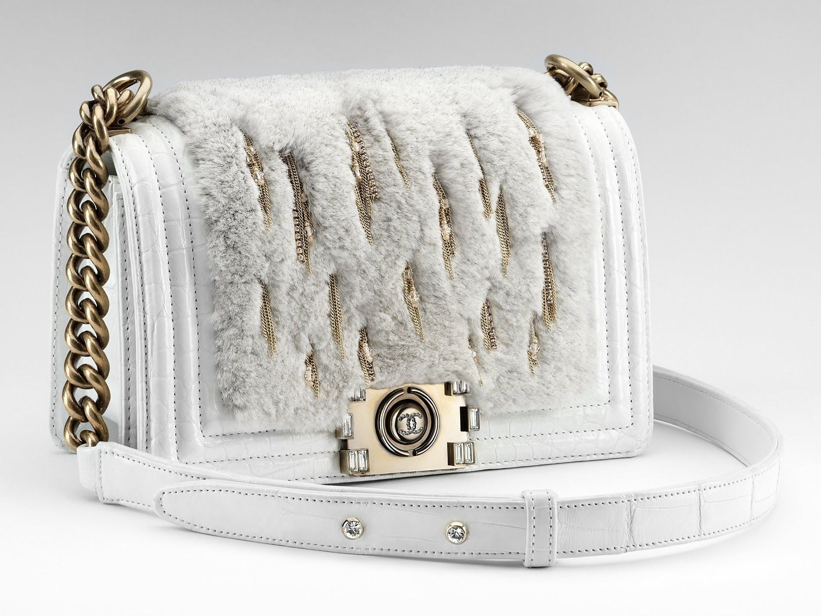 38c8cc5732b9 Chanel boy bag with rabbit fur (wish is was fake fur) and gold chains. OMG!