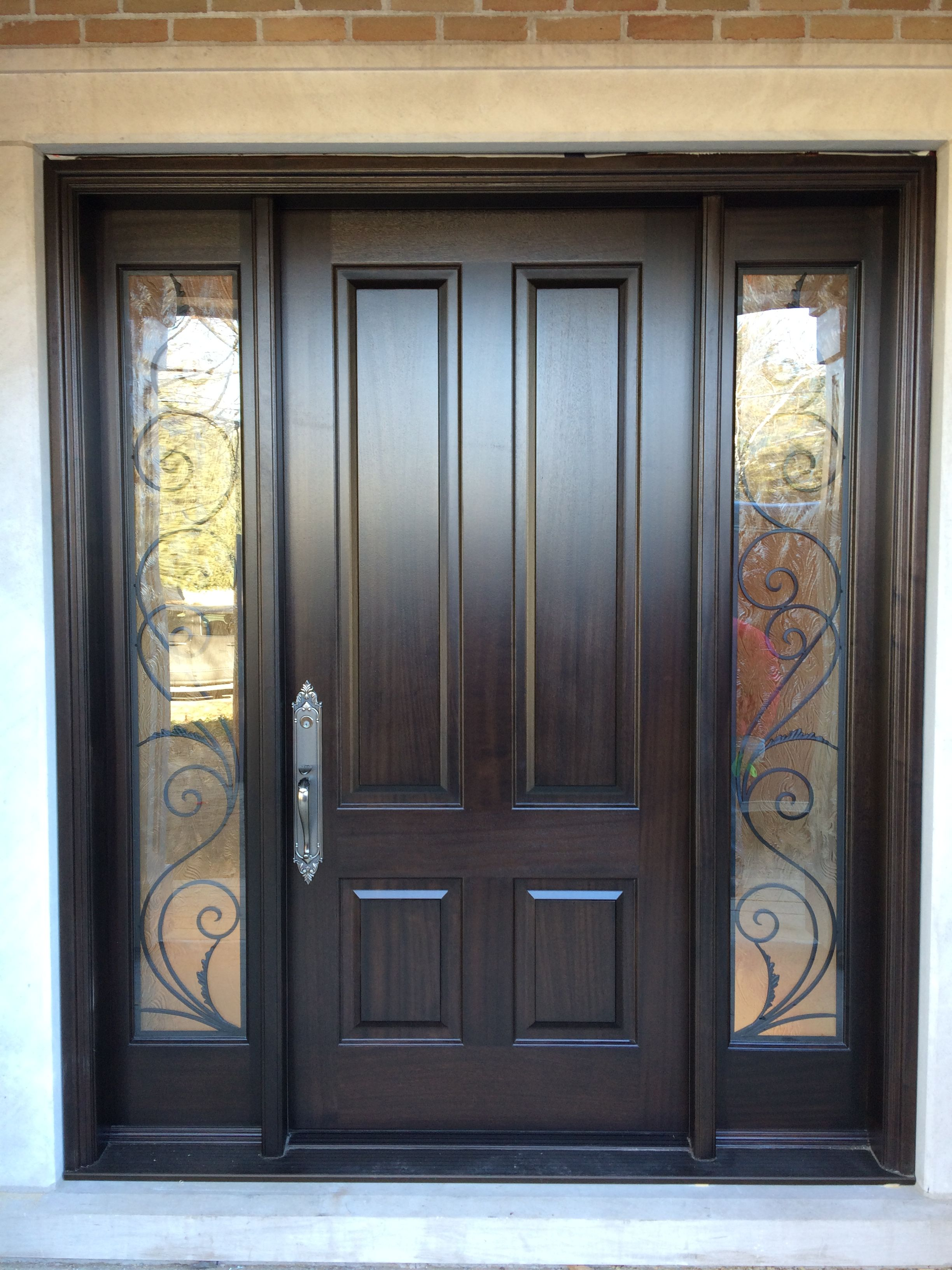 Solid Front Door With Windows On Both Sides Exterior