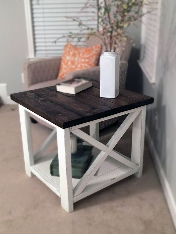 stain the tops dark then the bottom similar to my trunk coffee table farmhouse end table two toned by on etsy