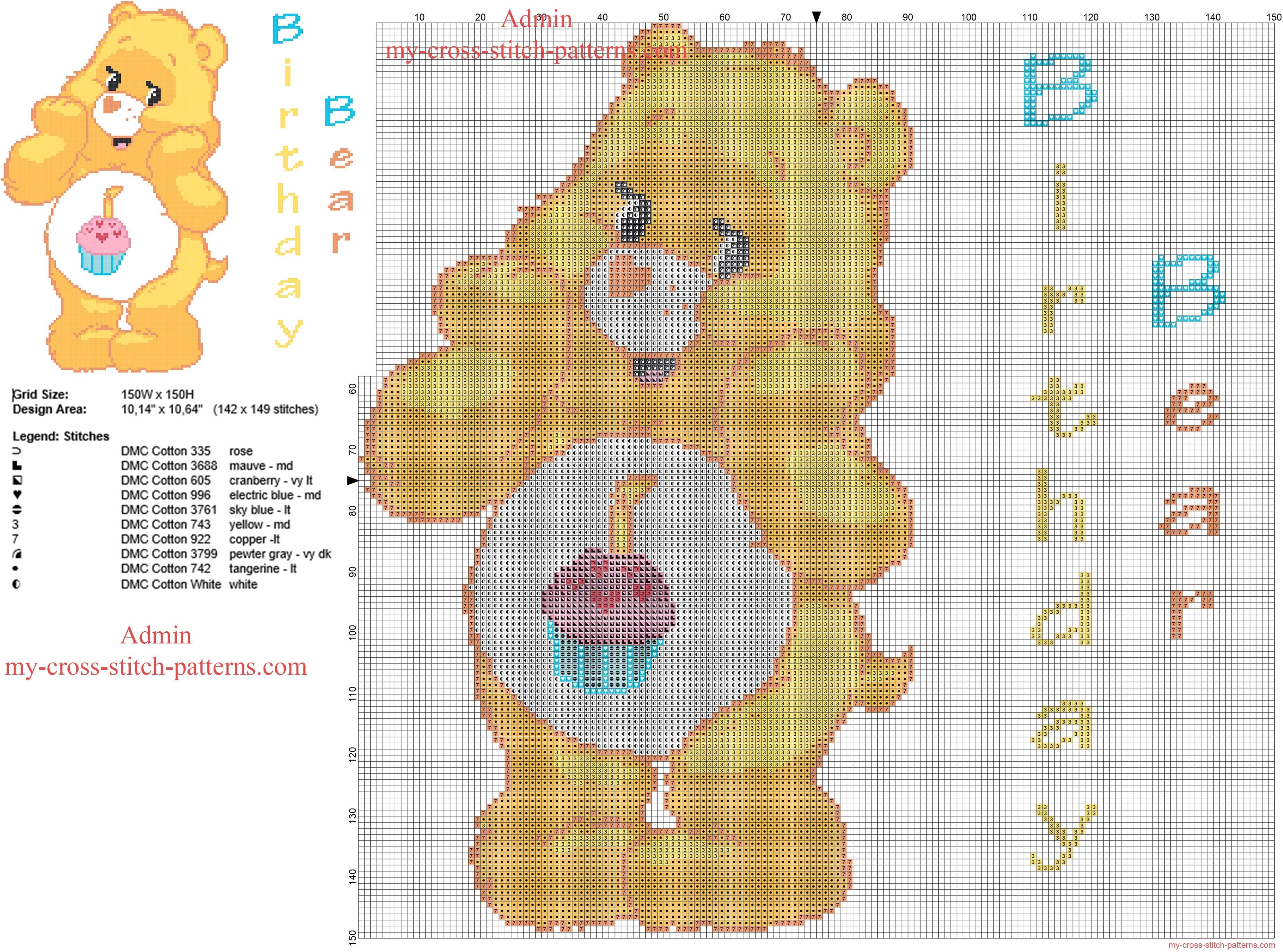 Birthday bear care bears cartoon baby character free cross stitch birthday bear care bears cartoon baby character free cross stitch pattern big size 150 bankloansurffo Choice Image