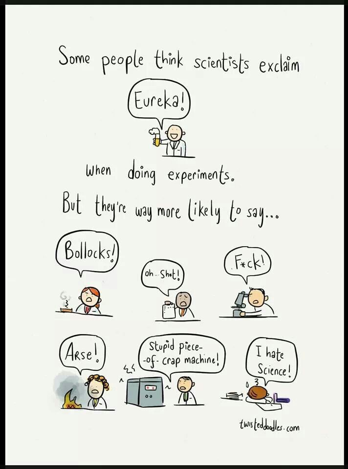 What scientists really say while doing experiments