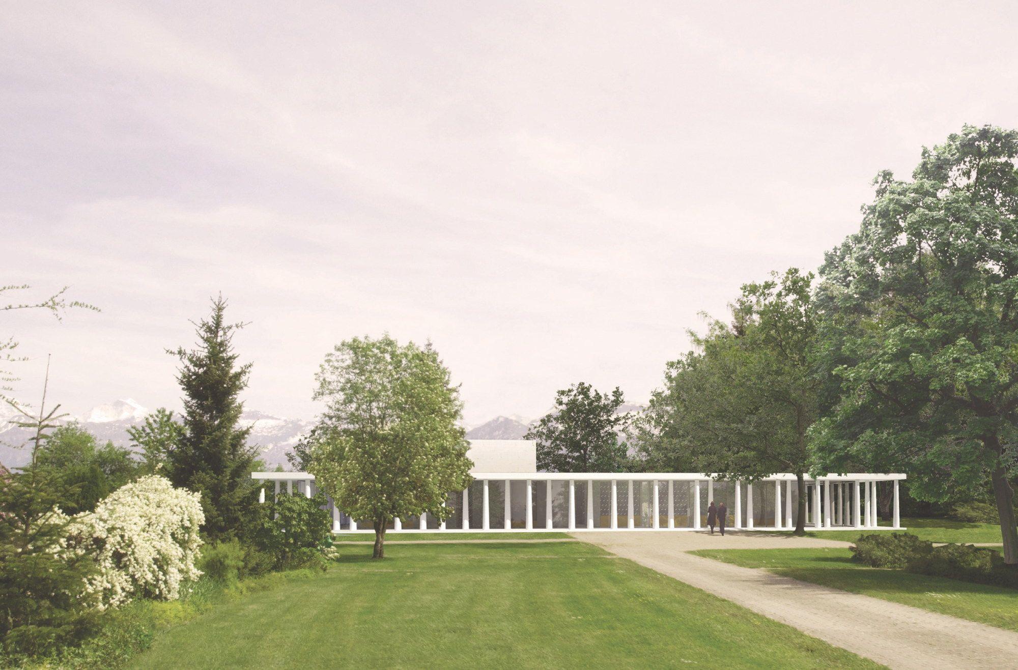 Tempel mit lichten Wandelhallen - Wettbewerb für Krematorium in Thun entschieden
