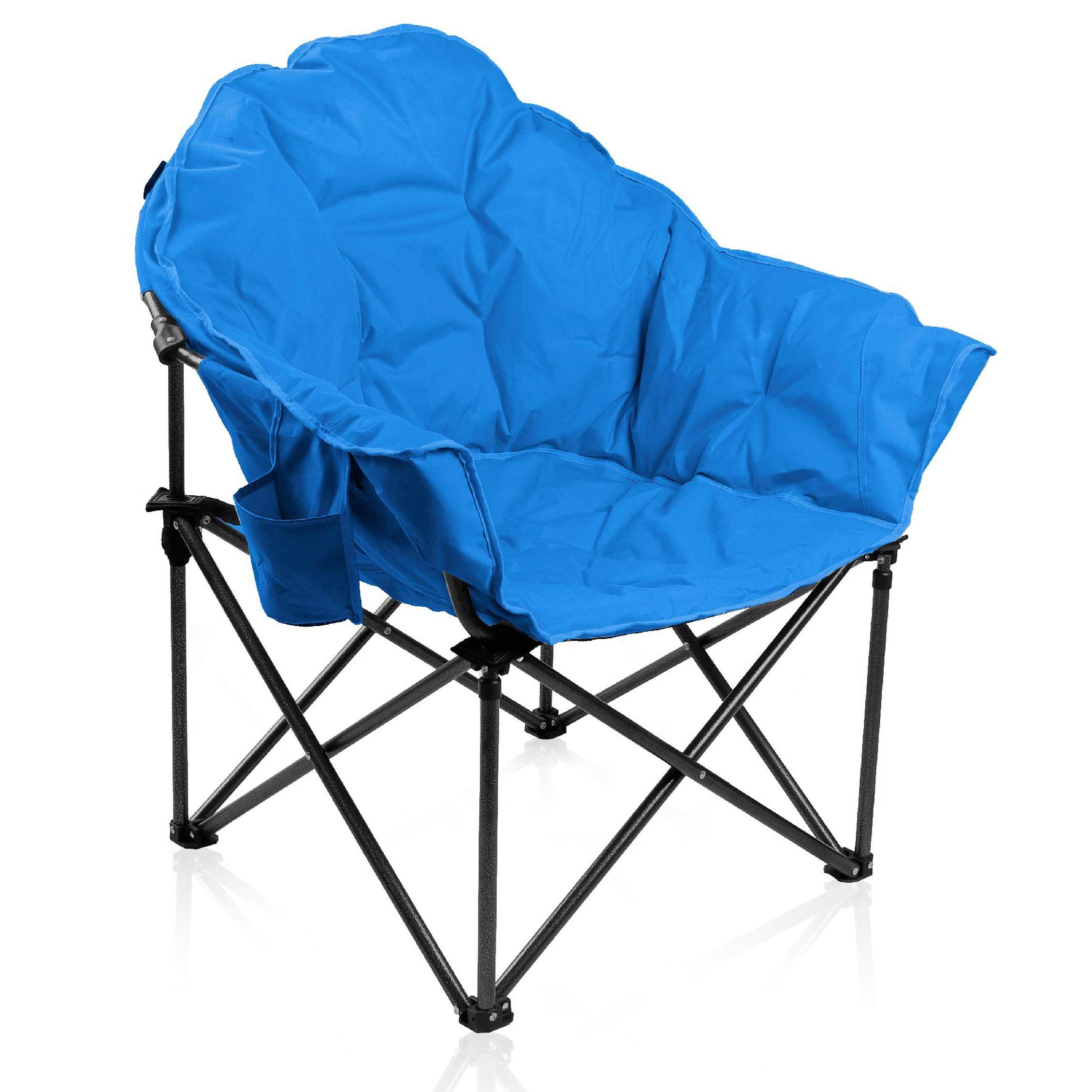 Alpha Camp Oversized Moon Saucer Chair With Folding Cup Holder And
