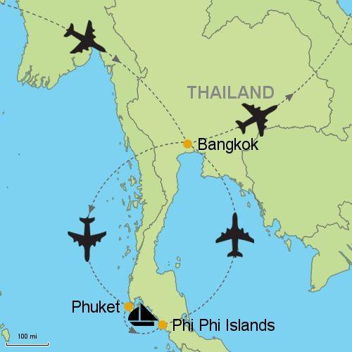 The Phi Phi Beach Resort Map: Bangkok - Phuket - Phi Phi Islands