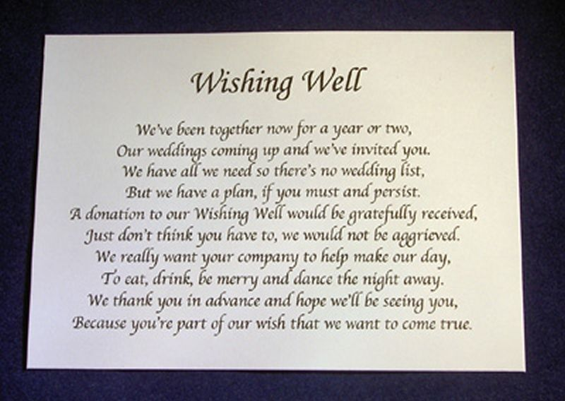 Personalised Small Wedding Wishing Well Poem Cards Money Request Cash Gift Card
