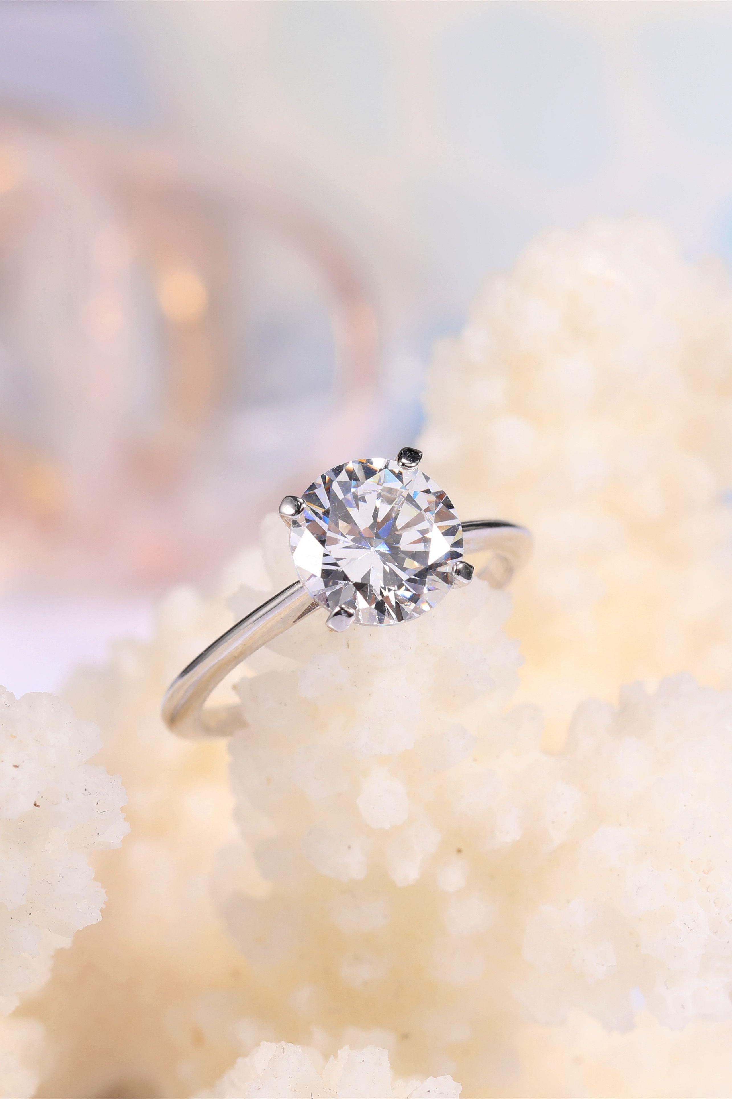 Cubic Zirconia Wedding Rings Sterling Silver Four Claws Cubic Zirconia Wedding Rings Wedding Rings For Women Sterling Silver Wedding Rings