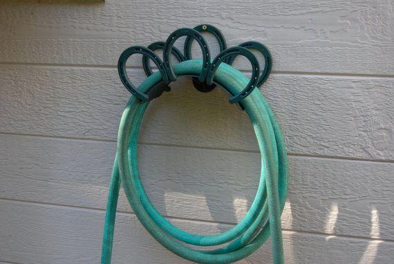 Custom Wall Mount Garden Hose Hanger, Holder, Horseshoes, Heavy Duty For  Barn,