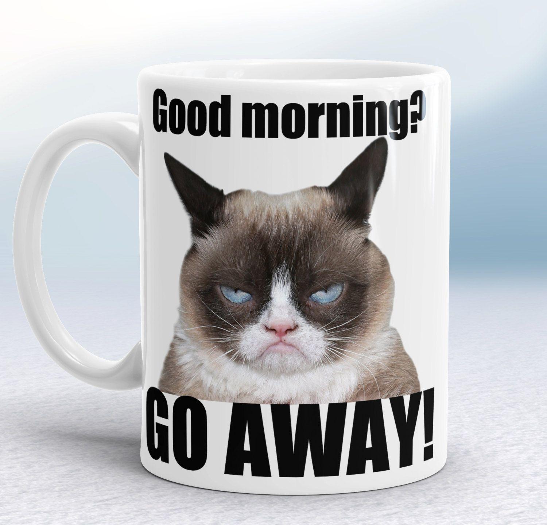 grumpy cat wedding invitations%0A Grumpy Cat Mug  Good Morning  Go away  Fun rude mug  Hilarious gift