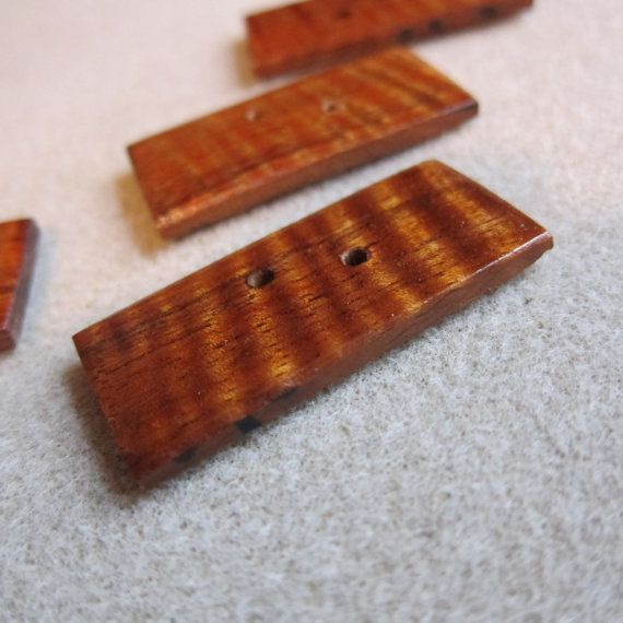 Hawaiian KOA Exotic Wood Buttons 4 Handmade by watercolorsNmore, $4.00