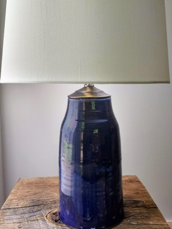 Handmade Ceramic Table Lamp Pottery Lamp Base Glossy Blue Stoneware Column Lamp Ceramic Table Lamps Pottery Lamp Table Lamp