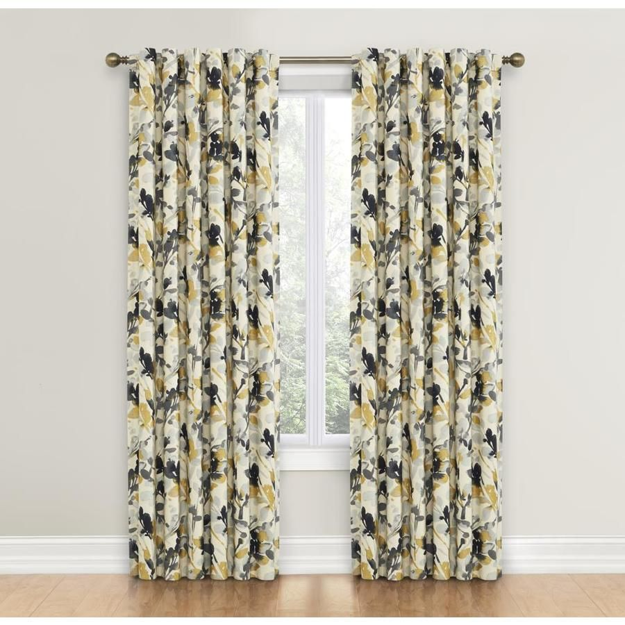Waverly Leaf Storm 84 In Graphite Cotton Back Tab Single Curtain Panel Panel Curtains Leaf Curtains Curtains