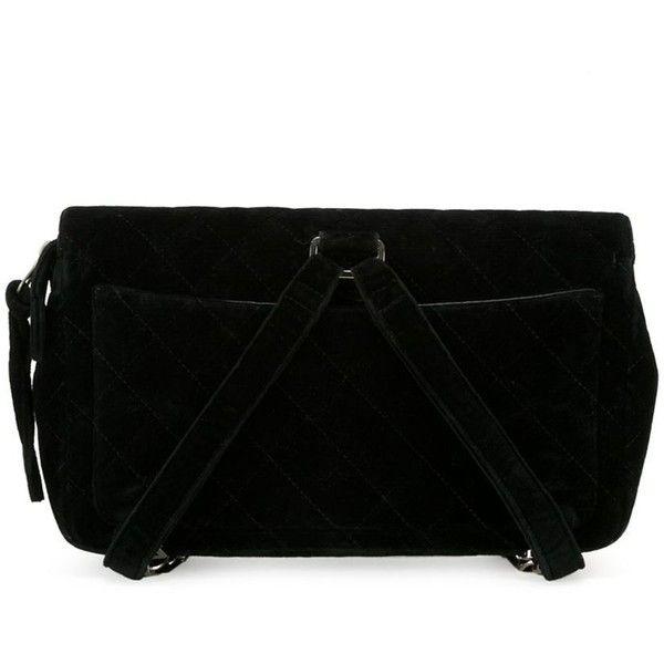 Chanel Vintage Velvet Backpack (85,555 MXN) via Polyvore featuring bags, backpacks, lock bag, vintage knapsack, quilted bags, vintage backpacks y rucksack bags