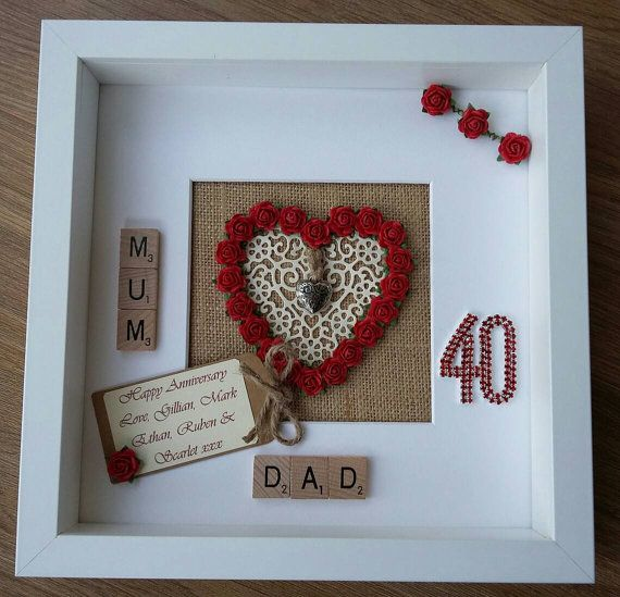 Personalised 40th Ruby Wedding Anniversary Gift Engagement Marriage Rustic Scrabble Art Frame Picture Mr Mrs Mum Dad Wall Keepsake