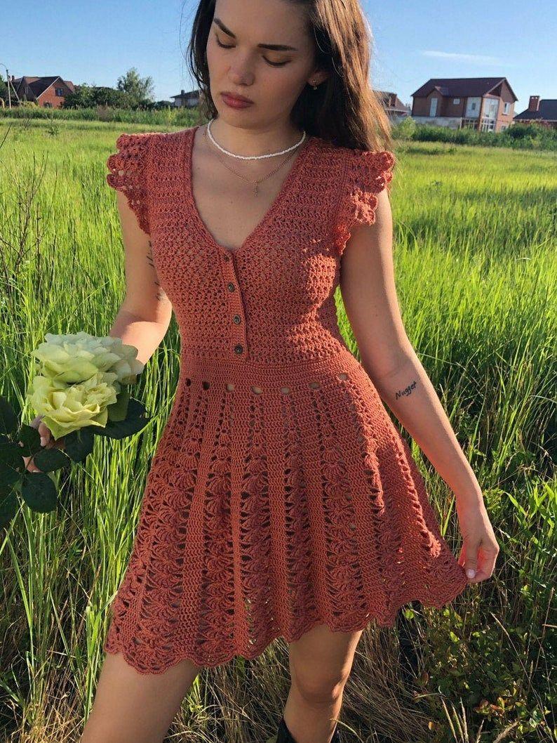 Festival Knitted Dress Pattern For Women Pattern In English Of Dress Okhra Atacama Womens Summer Dress Pdf Format Handmade Dress In 2021 Crochet Dress Knit Dress Pattern Crochet Fashion