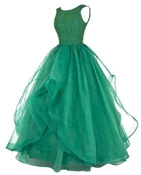 Dresstells® Long Prom Dress Asymmetric Bridesmaid Dress Beaded Organza Gown Black Size 2
