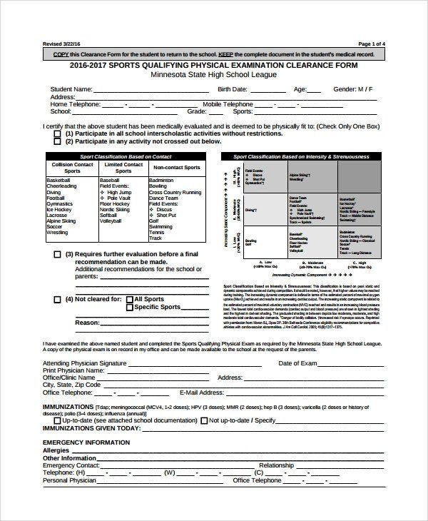 28 Physical Exam Form Template In 2020