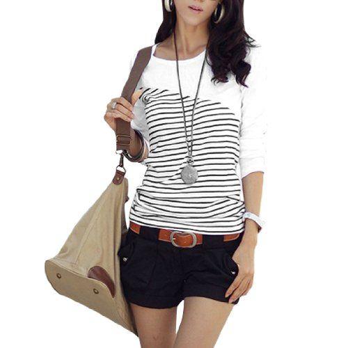 Allegra K XS White Black Block Stripe Long Sleeves Shirt for Lady Allegra K,http://www.amazon.com/dp/B008WZCEAE/ref=cm_sw_r_pi_dp_K9Hysb0C2WFD99Q9