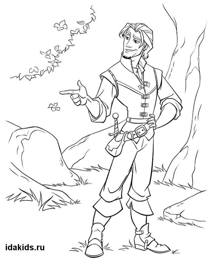 Раскраска Рапунцель Принц Флинн в лесу | Наброски ...