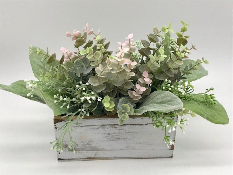 Farmhouse Centerpiece For Dining Table Greenery Arrangement Etsy In 2021 Dining Table Decor Centerpiece Farmhouse Centerpiece Dining Table Centerpiece