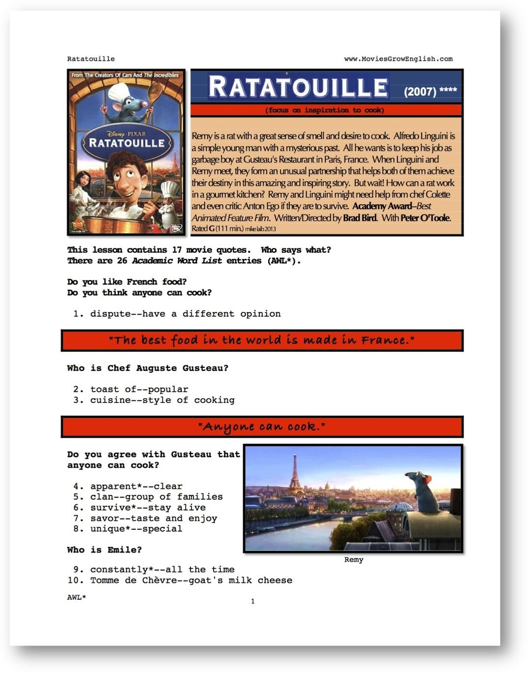 Esl Vocabulary Lesson This Site Has Many Different Movies