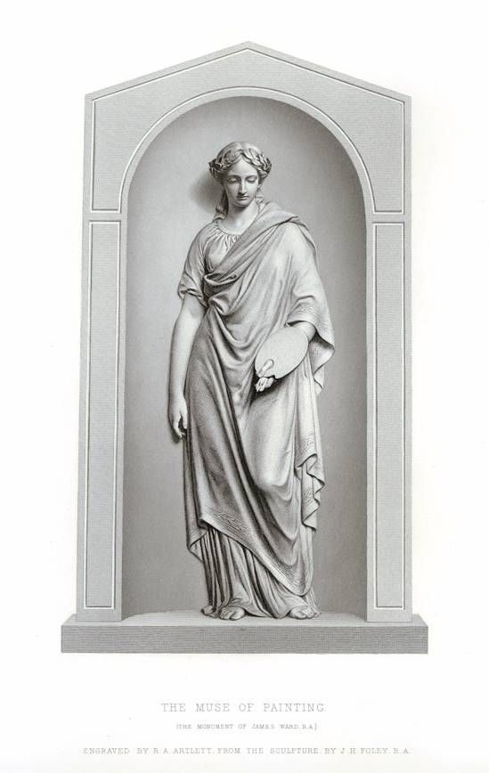 """"""" The Muse of Painting """" engraved by R.A.Artlett from the sculpture by J.H.Foley. Published in The Art Journal 1866."""