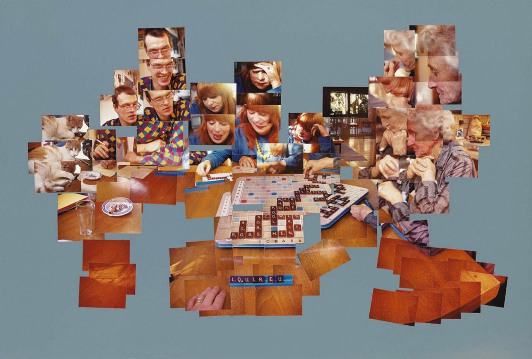 The Scrabble Game, David Hockney, 1982 ------ One of his Joiner photographic works